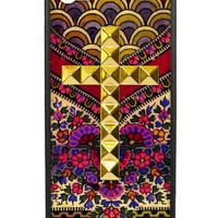 Flora Royalle Gold Studded Cross iPhone 5/5s Case