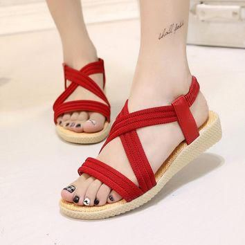 2017 Sandals women Summer new contracted flat sandals solid-colored fish mouth elastic