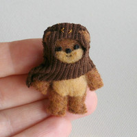 Ewok miniature plush Star Wars character - hand stitched felt figure