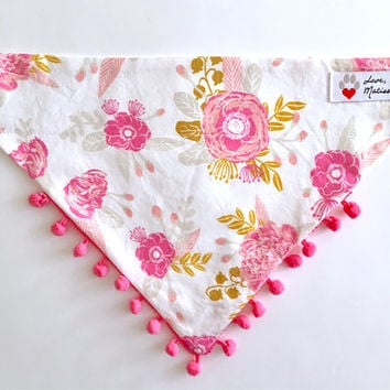 Dog Bandana, Floral Dog Bandana, Pom Trim Dog Bandana, Pink Floral Bandana, Fancy Dog Collar Bandana, Pom Bandana, Wedding Bandana