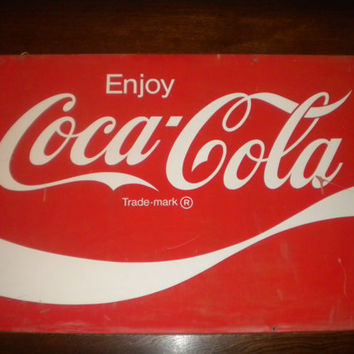 VINTAGE Coca Cola Sign 2' x 3' metal sign by jewelsmc on Etsy