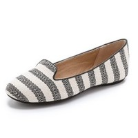 Cannes Striped Smoking Flats
