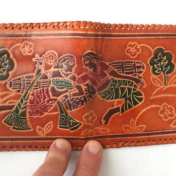 Tooled Leather Wallet, Vintage Unisex Wallet,  Multi color, Hard Genuine Leather Money Purse, Unique Billfold Wallet,  Love Scene Design