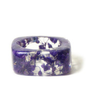 Purple Flower Ring- Purple Ring- Flower Ring- Flower Resin Ring- Resin Jewelry- Real Flower Jewelry- Flower Ring Jewelry- Resin Jewelry