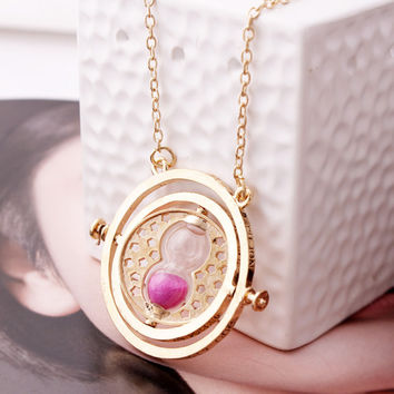 Harry Potter Hermione Granger Rotating Time Turner Necklace Gold Hourglass 1pc