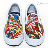 Marvel Comic Book-Mens Slip On-Hulk-Xmen-Captain America-Iron Man-Spiderman-Geek Chic-Custom Decoupage Shoes-boyfriend gift-