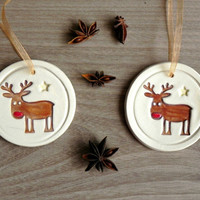 Ceramic Christmas Tree Deer Ornaments Rudolf Holiday Pottery Raindeer  Winter Home Decoration Gift Set of 3