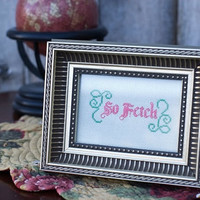 Framed So Fetch Handmade Cross Stitch by RagingStitches on Etsy