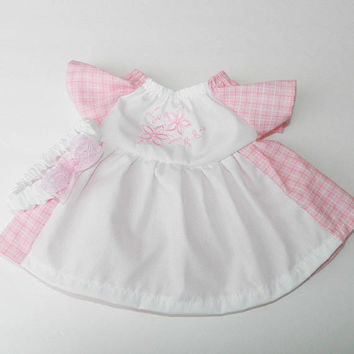 """Cabbage Patch 16"""" KIDS Doll Clothes,Pink White Gingham Embroidered Flower Dress & Headband, 16"""" CPKKids , 15"""" Bitty Baby Adorabledolldesigns"""