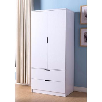 A Lavish Fabulous White  Finish 2 Door Wardrobe Metal With Two Drawers