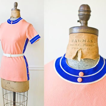 Vintage 1960s SPACE RACE Peach Striped Tunic by VeriteVintage