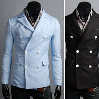 KOREAN Mens Slim Fit Premium Jacket Double Button Blazer HJN022 - S/M/L