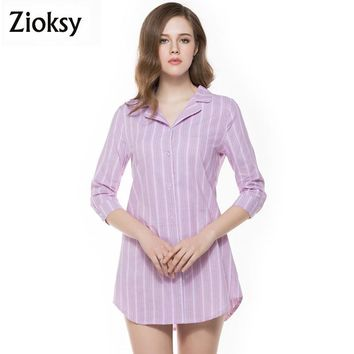 New Spring Summer Casual Button Down Lapel Neck Shirts Women Striped Three Quarter Sleeve Tops Blouse