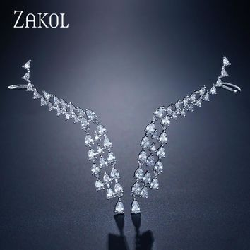 ZAKOL Luxury Marvellous Tassel AAA Cubic Zirconia Drop Earrings Trendy Wing Ear Bone Cuff Earring for Women Jewelry FSEP2090