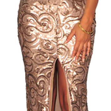 made2envy Sequined Deep V Neck Front Slit  Maxi Gown