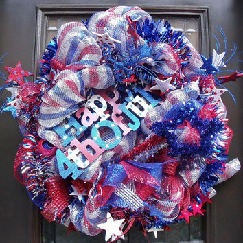 Deco Mesh 4th of July Wreath, Patriotic Wreath, Patriotic Door Wreath, July 4th Mesh Wreaths
