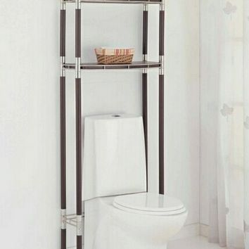 2 tier espresso finish wood with chrome accenst over the toilet eterge shelf unit