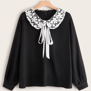 Plus Lace Peter Pan Collar Tie Front Blouse