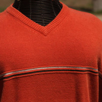 American Eagle V Neck Orange Vintage Comfy Sweater Men's Size Large