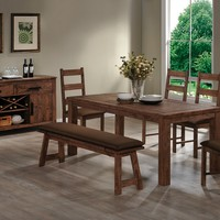 7 pc Maddox collection rustic brown finish wood country style dining table set with padded seats