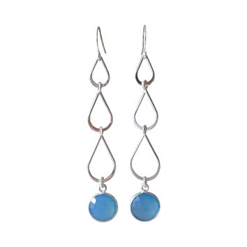 Three Tear Gemstone Silver Earrings