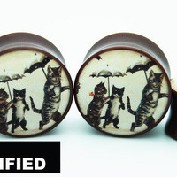 "BMA Modified - LA's Custom and Organic Plugs - Vintage Cats and Umbrellas Postcard BMA Plugs 9/16"" inch 14mm"