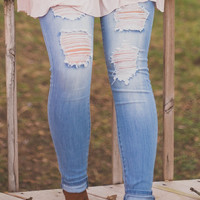 Mary Distressed Light Wash Skinnies