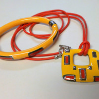 MOD Orange and Yellow Enameled Sterling Silver MILOR Italian Clamper Bracelet and Necklace