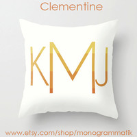"Monogram Personalized Custom ""Clementine"" 16x16 Pillow Cover Initials Unique Gift for Her Him Couch Bedroom Room Yellow Citrus Orange Ombre"