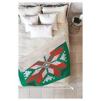 "Green Nature Zoe Wodarz Southwest Snowflake Green Sherpa Throw Blanket (50""X60"") - Deny Designs®"