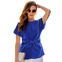 2016 New Women Summer Blue Chiffon Shirt Short Sleeves Bottoming Shirt Girls O-neck Blouses Tops With Bowknot