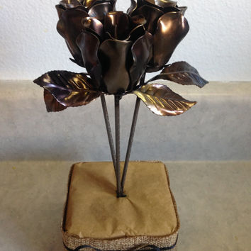 Hand made steel rose bouquets