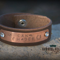 Rustic Western Cuff - Brown Leather, Copper, Rhinestone, Bling-CAN CHASER, Barrel Racing-Cowgirl Cuff