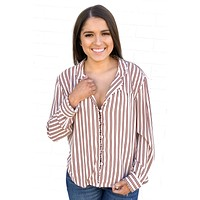 Burgundy Striped Blouse - Amuse Society