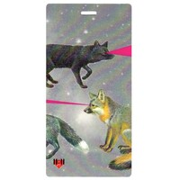Gray Foxy Pink Laser - Luggage Tag Set - 2 pc, Large by 11:11 Enterprises