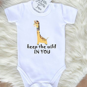Safari Animal Baby Clothes. Cute Baby Boy Or Baby Girl Romper With Tribal Giraffe Print. New Baby Gift. Safari Baby. Giraffe Baby Shirt