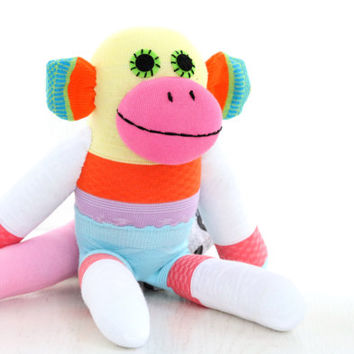 Handmade  Socks Monkey for children  Stuffed Animal baby  Plush Toy   Ready to Ship  2#