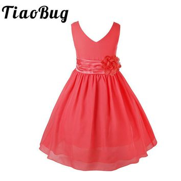 TiaoBug 2-14Y V-neck Summer Chiffon Party Girls Flower Dress Ball Gown Princess Keen-Length Formal Dress for Wedding Bridesbaid