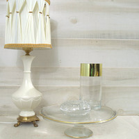 Mikasa Gold Rimmed Glass Cake Stand, Walther Crystal Wedding Cake Pedestal , Swirled Bridal Tea Cookie Plate, Gold Rimmed Vanity Tray