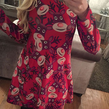 Red Reindeer Print Long Sleeve Shift Dress