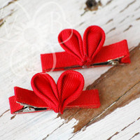 Heart of the Matter red ribbon hearts hair or clothing accessory