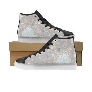 abstract floral pattern honey Custom Light Up Men's Shoes (Model 045)