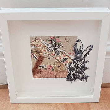 Vintage rabbit free motion machine embroidery- Mother & Daughter-emboridery framed work-sewing artwork-textiles picture-college textiles