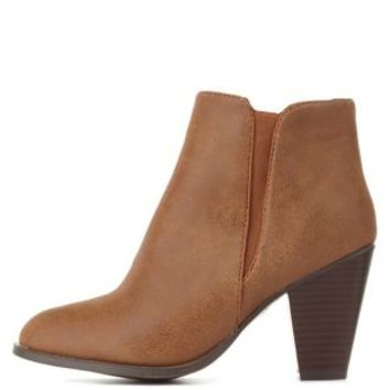 f5523c2861441 Chestnut Dollhouse Side-Gored Chunky Heel from Charlotte Russe
