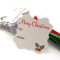 Merry Christmas Holiday Gift Tags with Red and Green Ribbon - Set of 24