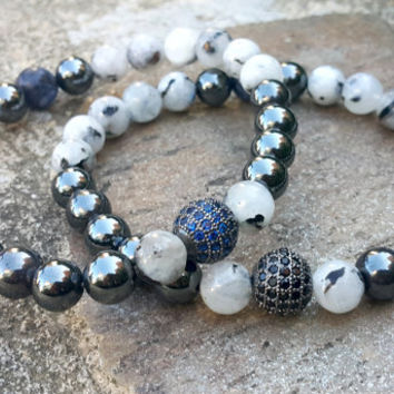 18k Gold Rhodium Plated Blue Swarovski Diamonds Ball Bracelet, High Quality Moonstone, Hematite, Sodalite Mens Jewelry, Calming and Energy