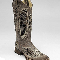 Corral Boots Angel Wing Cross Boots - Brown Crater