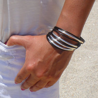 Black and silver leather and tube bracelet