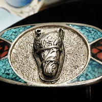 Crushed Turquoise and Red Coral Pewter Belt Buckle Gun Holster Cowboy Rodeo Southwestern Western Inlay Inlaid Belt Buckle