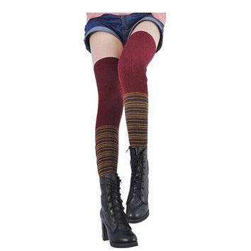 Knitting Women thigh high Socks Leg Warmers Boot Cover  Rainbow mosaic over knee socks  Calcetines sale